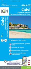 Wandelkaart Calvi, Cirque de Bonifatu, PNR de la Corse, Caleria, Algojola | IGN 4149OT - IGN 4149 OT