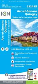 Wandelkaart Arc-et-Senans, Quingey, Vallees de la Loue et du Lison | Jura | IGN 3324ET - IGN 3324 ET | ISBN 9782758550136
