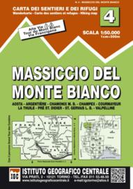Wandelkaart IGC 4 Massiccio del Monte Bianco | 1:50.000 | ISBN 9788896455043