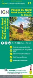 Wandelkaart - Fietskaart Vogezen - Vosges du Nord - Mont Sainte Odile - Le Donon nr. 27 | 1:75.000 | ISBN 9782758549734