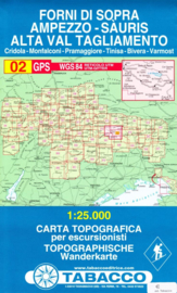 Wandelkaart Forni di Sopra - Ampezzo - Sauris - Alta Val Tagliamento | Tabacco 2 | 1:25.000 | ISBN 9788883150029