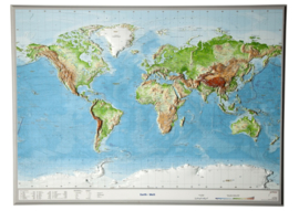 Wandkaart Wereld Relief | GeoRelief | 1:53 miljoen | ISBN 4280000664341
