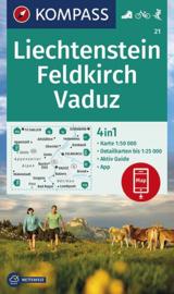 Wandelkaart Liechtenstein - Feldkirch - Vaduz | Kompass 21 | 1:50.000 | ISBN 9783990446324