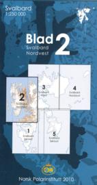 Topografische kaart Spitsbergen NW  Blad 2 | Norsk Polarinstitutt | 1:250.000 | ISBN 7046660088760