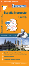 Wegenkaart Galicia - Santiago de Compostela - Vigo - La Curuna (Galicië) noordwest Spanje | Michelin 571 | ISBN 9782067184077
