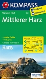 Wandelkaart Harz | Kompass 452 Mittlerer Harz | 1:50.000 | ISBN 9783850264884