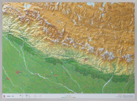 Wandkaart Nepal 3D met reliëf | Geo Relief | ISBN 4251405900549