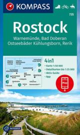 Wandelkaart Rostock - Warnemunde - Bad Doberan | Kompass 735 | 1:50.000 | ISBN 9783990447383
