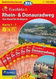 Fietskaart Eurovelo 6 Rhein - & Donauradweg | BVA | ISBN 9783870736125