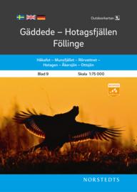 Wandelkaart Gäddede – Hotagsfjällen – Föllinge  - outdoor fjall 09 | Norsteds | 1:75.000 | ISBN ISBN: 9789113105062
