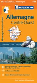 Wegenkaart Duitsland Midden West  | Michelin 543 | 1:350.000 | ISBN 9782067183582