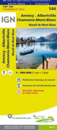 Wegenkaart - fietskaart Annecy - Lausanne - Geneve - Evian - Mont Blanc | Rhône Alps / Haute-Savoie | IGN 144 | ISBN 9782758543770