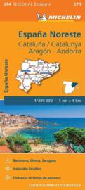 Wegenkaart Aragon - Cataluna - Catalunya - Barcelona - Andorra - Zaragoza   Michelin 574   ISBN 9782067184220
