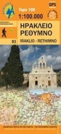 Wegenkaart 93 Kreta centraal - midden Heraklion en Rethimnon - Kreta | Anavasi Maps | ISBN 9789608195806