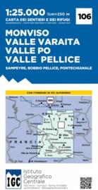 Wandelkaart Monviso - Sampeyre -Bobbio Pellice | IGC nr. 106 | 1:25.000 - ISBN 9788896455623