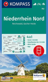 Wandelkaart Niederrhein Nord / Reichswald | Kompass 752 | 1:50.000 | ISBN 9783990443163