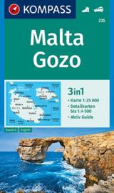 Wegenkaart-Wandelkaart Malta |  Kompass | 1:25.000 | ISBN 9783990446416