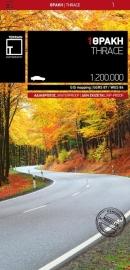Fiets- & Wegenkaart Thracië - Thrace en oostelijk (Grieks) Macedonië 1 | Terrain Maps | ISBN 9789609456265