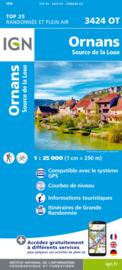 Wandelkaart Ornans, Source de la Loue | Jura | IGN 3424OT - IGN 3424 OT | ISBN 9782758550198
