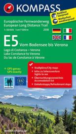 Wandelkaart E5 Vom Bodensee bis Verona | Kompass | 1:50.000 | ISBN 9783850269728