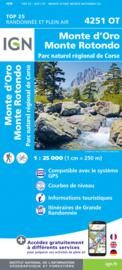 Wandelkaart Monte d Oro, Monte Rotondo, Soccia, Vizzavona, Venaco, PNR de la Corse | Corsica - IGN 4251OT - IGN 4251 OT