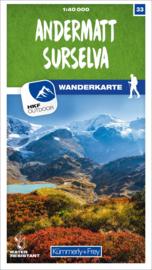 Wandelkaart Andermatt - Surselva | Kümmerly & Frey | 1:40.000 | ISBN 9783259023334