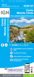 Wandelkaart Corte, Monte Cinto, Calacuccia, PNR de la Corse  | Corsica - IGN 4250OT - IGN 4250 OT