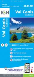 Wandelkaart Val Cenis, Charbonnel, Col du Mont Cenis, Susa | NP De La Vanoise | IGN 3634 OT - 3634OT