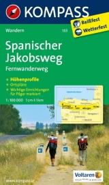 Wandelkaart Jacobsweg Spanje - Spanischer Jakobsweg | Kompass 133 | 1:100.000 | ISBN 9783850267076
