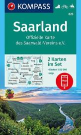 Wandelkaart Saarland  |  Kompass 825 - 2 delige set | 1:50.000 | ISBN 9783990443736