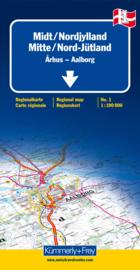 Wegenkaart Midden- en Noord Jutland nr. 1 | Kümmerly + Frey | ISBN 9783259013977