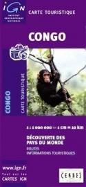 Wegenkaart Congo | IGN | 1:1,1 miljoen | ISBN 3282118501519
