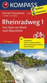 Fietskaart Rhein Radweg 1 : Bodensee - Mannheim | Kompass 7008 | 1: 50.000 | ISBN 9783850267779