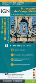 Wandelkaart St-Jacques-de-Compostela GR 65-3, St Jacobsroute | 1:100.000 | IGN | ISBN 9782758536345