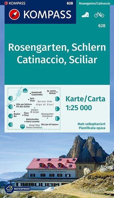 Wandelkaart Rosengarten - Schlern   Kompass 628   1:25.000   ISBN 9783850264839