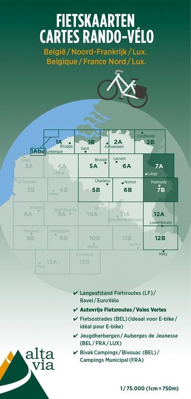 Fietskaart  Luik & Oostkantons   Alta Via 7   1: 75.000   ISBN 9789082714449