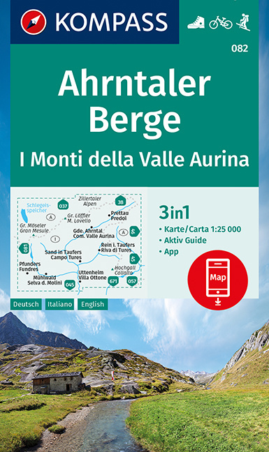 Wandelkaart Ahrntaler Berge / Monti della Valle Aurina | Kompass 082 | 1:25.000 | ISBN 9783991211532