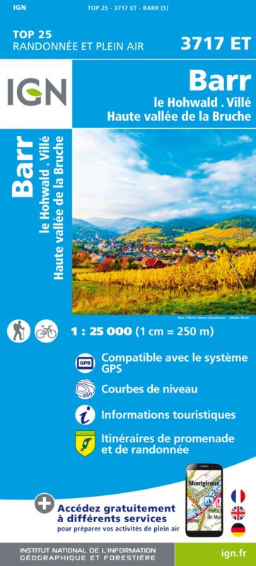 Wandelkaart Barr / Le Howald / Villé / Vallée de la Bruche   Vogezen   IGN 3717 ET - 3717ET   ISBN 9782758550495