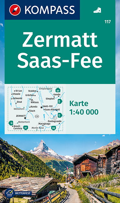 Wandelkaart Zermatt - Saas Fee | Kompass 117 | 1:40.000 | ISBN  9783991211037