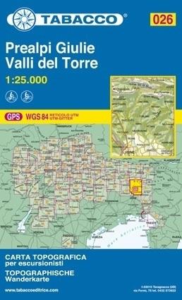 Wandelkaart Prealpi Giulie - Valli del Torre - Dolomieten   Tabacco 26   1:25.000   ISBN 9788883150265