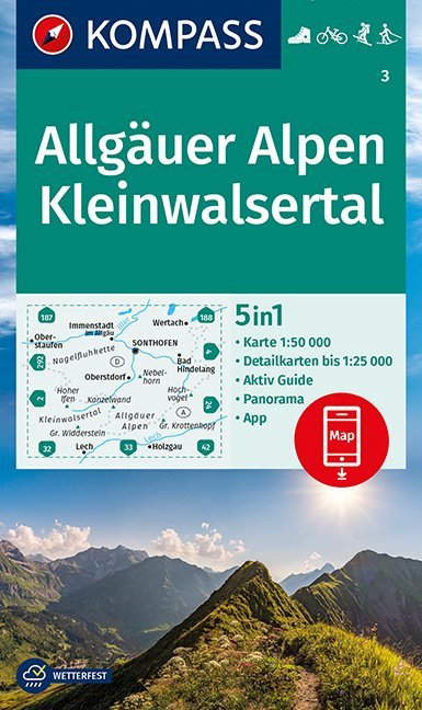 Wandelkaart Allgauer Alpen - Kleinwalsertal | Kompass 3 | 1:50.000 | ISBN 9783991210283