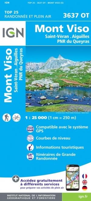 Wandelkaart Mont Viso, Saint-Veran, Aiguilles & Parc Naturel Regional de Queyras | Queyras | IGN 3637OT - 3637 OT