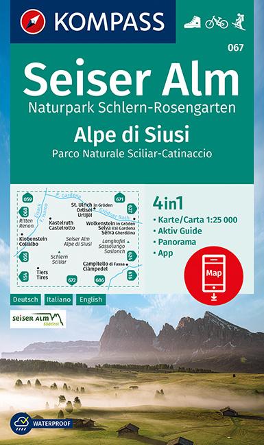 Wandelkaart Seiser Alm - Naturpark Schlern - Rosengarten   Kompass 067   1:25.000   ISBN 9783991211105