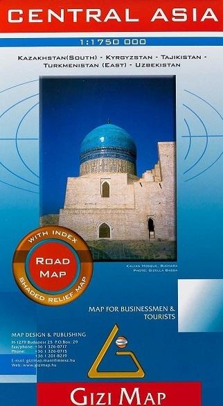Wegenkaart Centraal Azië - Kazachstan, Uzbekistan, Kirgizië en Tajikistan   Gizi Map   1:1,75 miljoen   ISBN 9789630372398