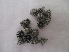 Flower Bead Cap 8x9 mm. brons
