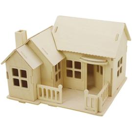 Houten huis met terras