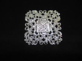 Filigraan vierkant zilver kleurig,  4 x 4 cm