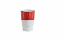 Beker porselein 'Useful new colors', Rood