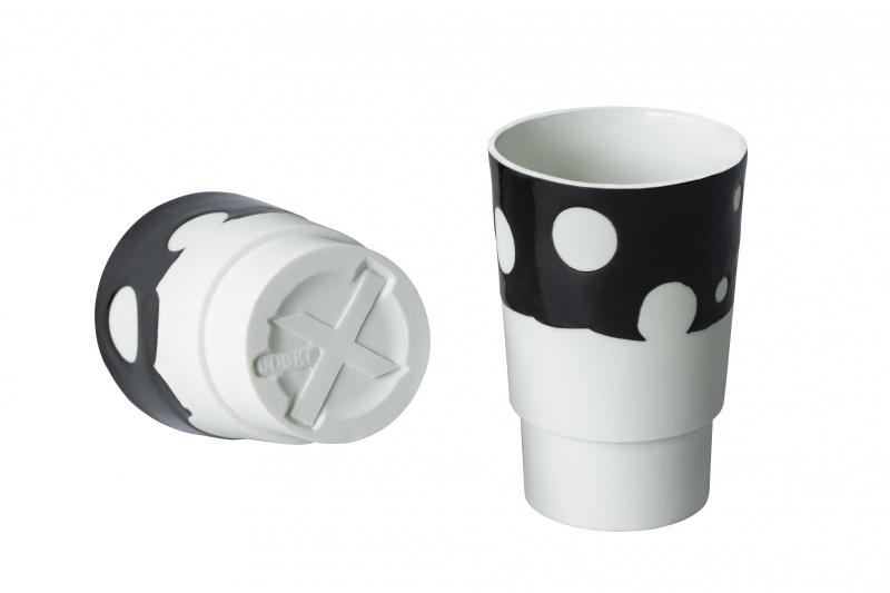 Beker porselein, 'Dots', Zwart