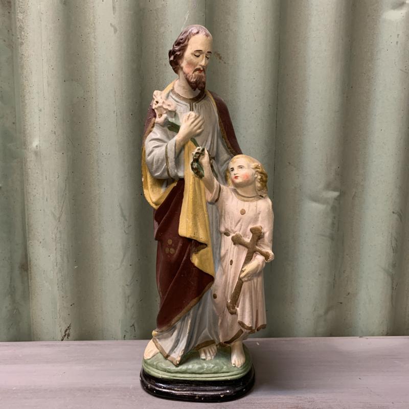Brocante beeld Joseph en kindje Jezus